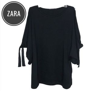 Zara Black Tie Dolman Sleeve Top [medium]